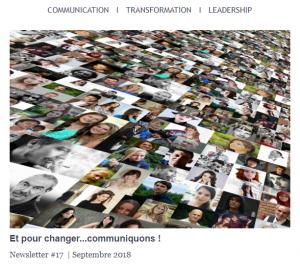 Newsletter # 17 | Sept. 2018 -Et pour changer ... communiquons !